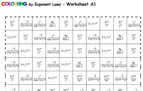 Colouring by Exponent Laws Superman Logo 2 Versions 9 sheet – Exponent Laws Worksheet