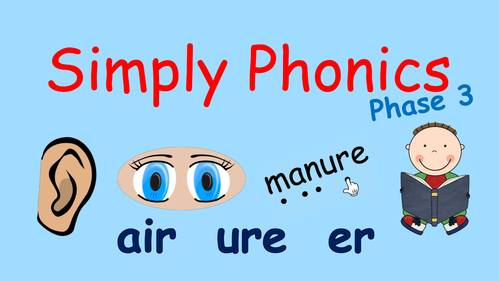 Phase 3 Phonics - 2 Powerpoints (air, ure and er) and a Powerpoint to practise 'chunking'.