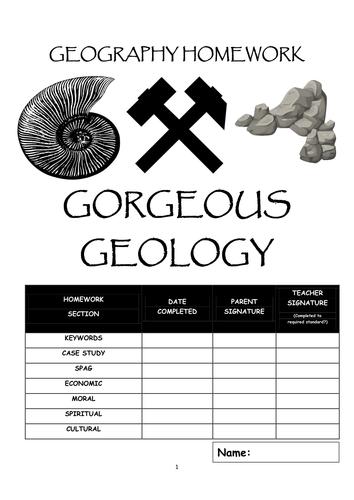 "Homework booklet: ""GORGEOUS GEOLOGY"""