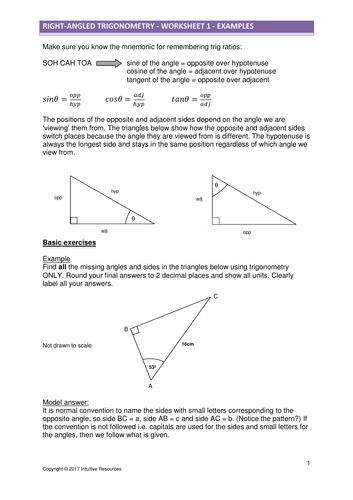2d Right Angled Trigonometry Worksheet Updated 27118 By Kevald