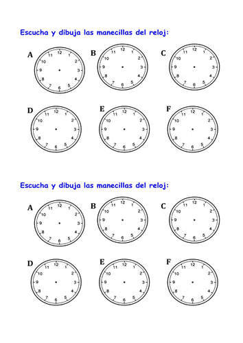 Printables Que Hora Es Worksheet ks3 spanish hora es whats the time by tcnewman teaching resources tes