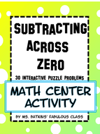 Subtracting Across Zero Math Station Activity