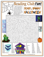 Scary, Spooky Halloween Word Search Puzzle