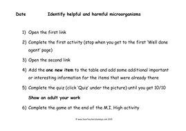 Helpful and Harmrful Microorganisms KS2 Lesson Plan and Worksheet by ...