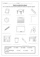 FRENCH - Dans La Salle de Classe - Worksheets