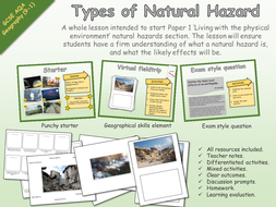 GCSE Geography - AQA - Living with the physical environment - Types of natural hazard