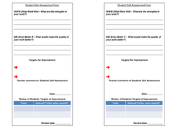 Student Self Assessment Form - with Teacher feedback and Target ...