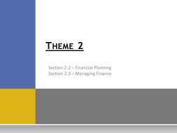 Theme 2: Managing Business Activities - 2.2 Financial Planning
