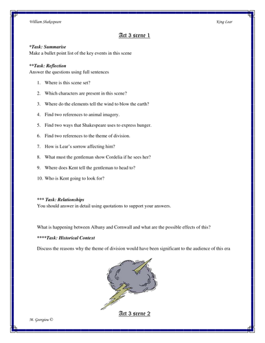 Shakespeare's King Lear Act 3 Workbook/Activity Pack