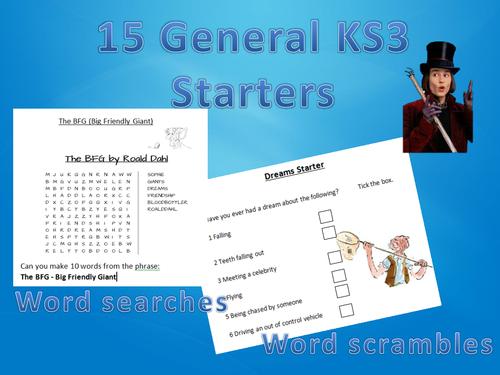 20 Original KS3 English Starters - Big Time Saver