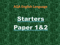 New AQA Paper 1 and 2 English Lesson Starters