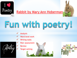 Poetry analysis with writing tasks: Rabbit by Ann Hoberman