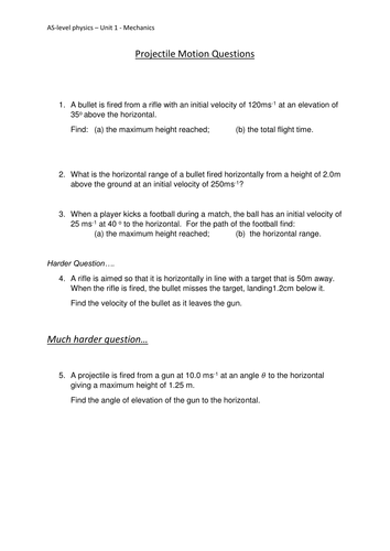 Pictures Projectile Motion Worksheet - Toribeedesign