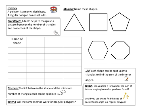 Angles in polygons investigation by luna123 Teaching Resources Tes – Interior Angles of Polygons Worksheet