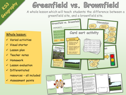 KS3 Geography - Settlement - Brownfield and greenfield sites