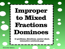 Fractions : Mixed Fractions to Improper Fractions Dominoes