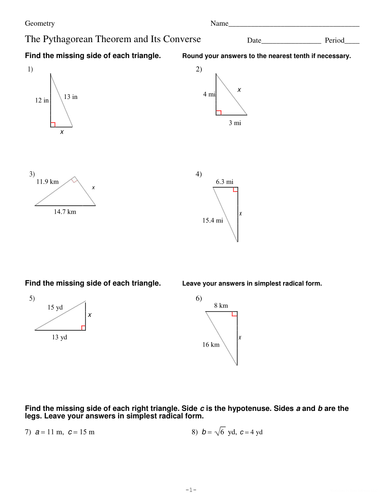 PYTHAGOREAN THEOREM AND ITS CONVERSE (RIGHT ANGLE TRIANGLE ...
