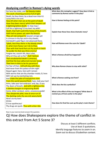 Romeo and Juliet: AQA 1-9 30 premium worksheets by ...