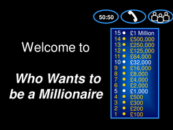Who wants to be a millionaire- Judaism/shabbat