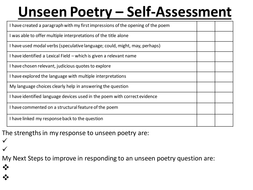aqa lit unseen poetry self peer assessment by sutty6 teaching resources tes. Black Bedroom Furniture Sets. Home Design Ideas