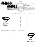 MANIAC MAGEE Characters Organizer (by Jerry Spinelli