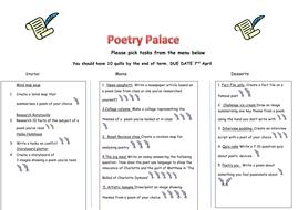 Poetry takeaway homework menu