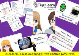 ESL/EAL/TEFL Bundle - 60 page resource pack, two ESL PPTS, game cards, two editable  game PPTS