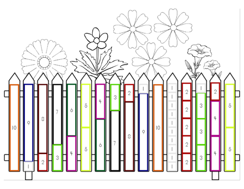 Cuisenaire Rods Ways to 10 Flower Fence by Rodblock Teaching – Cuisenaire Rods Worksheets