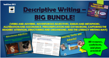 Descriptive Writing Big Bundle! (All PowerPoints, Lesson Plans, Worksheets, Help-sheets, Games, and More!)