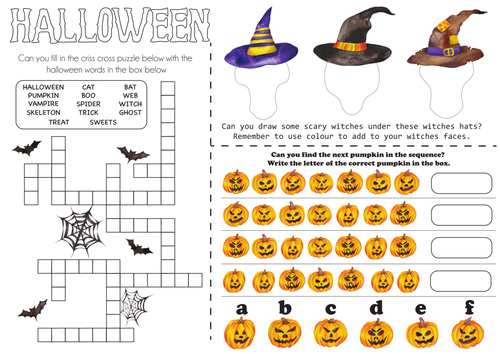 Halloween Activity sheets - Set of 2
