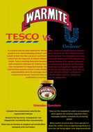 Marmite Wars! A worksheet on Monopoly, Monopsony and Oligopoly