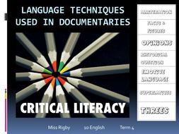 Analysing documentaries - Language features used in documentaries