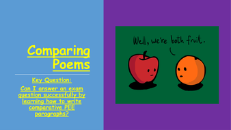 English Literature Paper 2 Power and Conflict Poetry: How to compare poems.