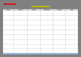 Blank Revisiontimetable Sheet For Students To Complete By Eje1