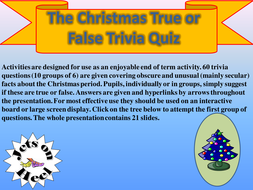 true of false christmas trivia challenge by 20jet12 teaching
