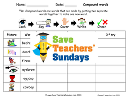 Compound Words Spelling Worksheets and Dictation Sentences for Year 1