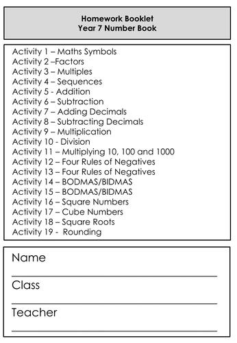Differentiated Homework / Worksheet Booklet - Mathemaitcs - Number - KS3 Expected / Grade 2 GCSE