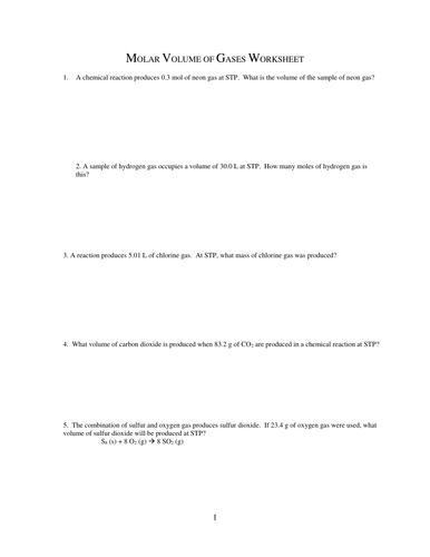 MOLE AND VOLUME CALCULATIONS WORKSHEETS WITH ANSWERS by ...