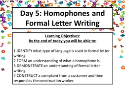 Functional Skills English: Homophones and Letter Writing (E-L1)