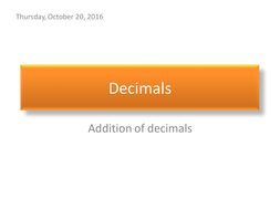 Addition of decimals