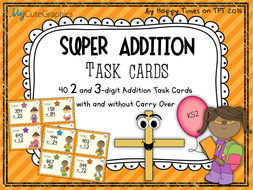 Column Addition Task Cards (2 and 3 digit numbers)