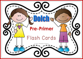 Sight Word Flash Cards – Dolch Pre-Primer {Freebie} by