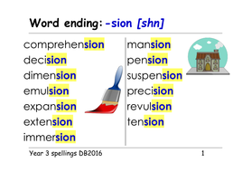 Year 3 spellings: word endings: shn - tion, ssion, sion, cian - ppts and  table/group cards