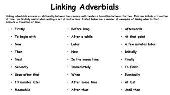Linking Adverbials Time Word Mat Teaching Resources