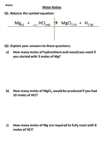Worksheet Mole Ratio Worksheet aqa combined science trilogy chemistry whole unit 3 2 worksheet molar ratios pptx