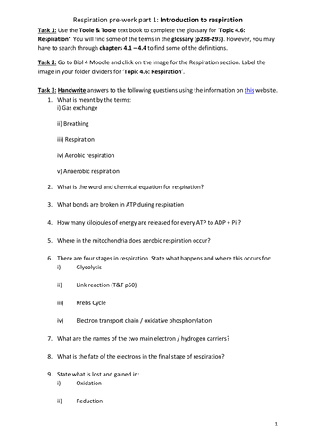 AQA A-level Biology (2016 specification). Section 5 Topic 14: Respiration pre-work