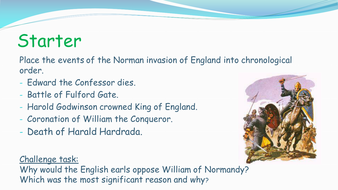 Edexcel GCSE History (9-1) The Normans: The submission of the Earls