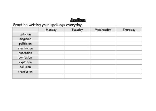 weekly spellings for year 5