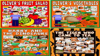 *STORY BUNDLE* OLIVER'S VEGETABLES, OLIVER'S FRUIT SALAD, HARRY AND THE DINOSAURS, TIGER WHO CAME TO TEA, FOOD, HEALTHY EATING, EARLY YEARS,  KEY STAGE 1