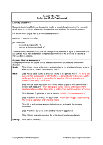 GCSE Science / Physics - Pressure and Volume / Boyle's Law (PowerPoint and Lesson Plan)